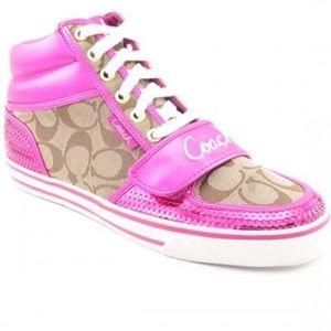 Coach Mistie sequin pink brown sneaker 10